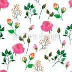 Rosen und Knospen Nahtloses Vektormuster