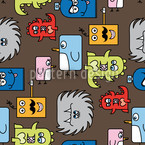 Colorful Monsters Seamless Vector Pattern