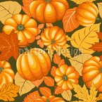 Pumpkins And Leaves Vector Pattern
