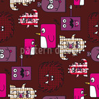 Monsters Patchwork Seamless Vector Pattern Design