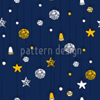 Christmas Decorations Blue Seamless Vector Pattern Design
