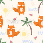 Foxes And Palm Trees Seamless Vector Pattern Design