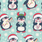 Pinguins no Natal Design de padrão vetorial sem costura