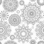Konturierte Rosetten Nahtloses Vektormuster
