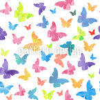 Watercolor Butterflies Vector Pattern