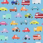 Cartoon Cómic Cars Estampado Vectorial Sin Costura