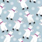 Patinação Ursos Polares Design de padrão vetorial sem costura