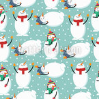 Cute Snowmen Seamless Vector Pattern Design