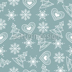Hearts Snowflakes And Christmas Trees Pattern Design