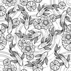 Koi Pond Seamless Vector Pattern Design