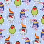 Pássaros na neve Design de padrão vetorial sem costura