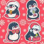 Pinguins e flocos de neve Design de padrão vetorial sem costura