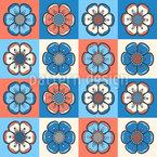 タイル張りの花 シームレスなベクトルパターン設計
