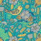 Pflanzen Vögel Und Insekten Rapportiertes Design