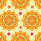 Sterne Und Dekorative Kreise Nahtloses Muster
