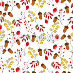 Autumn Forest Plants Seamless Vector Pattern