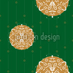 Christmas Ornaments Green Repeating Pattern