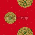 Stilisierte Christbaumkugel Rot Rapportmuster