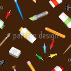 学校アイテム シームレスなベクトルパターン設計