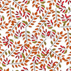 Leaves And Dogwood Berries Vector Pattern