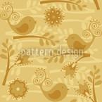 Goldener Vogelgesang Nahtloses Vektormuster