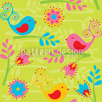 Colorful Birdsong Seamless Vector Pattern Design