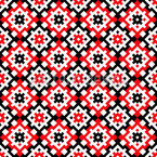 Traditional Balkan Embroidery Seamless Vector Pattern Design