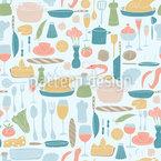 Üppig Gedeckter Tisch Nahtloses Vektormuster