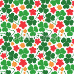 Kleeblätter und Blumen Rapportiertes Design