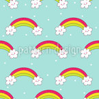 Rainbows And Happy Clouds Seamless Vector Pattern Design
