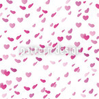 Hearty Rain On Valentines Day Seamless Vector Pattern Design