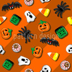 Spooky Candy Party Seamless Vector Pattern Design