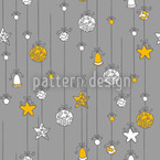 Christmas Tree Decorations Grey Seamless Vector Pattern Design