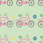 Bicicleta Girly Estampado Vectorial Sin Costura