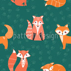 Cute Foxes Seamless Vector Pattern Design
