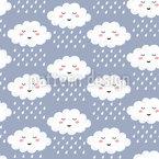 Sonhando nuvens chuvosas Design de padrão vetorial sem costura