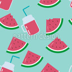 Wassermelone Und Saftglas Nahtloses Vektormuster