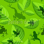 Frogs On Leaves Seamless Vector Pattern Design
