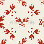 Abstract Twin Flowers Seamless Vector Pattern Design