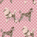 Poodles With Heart Seamless Vector Pattern