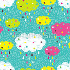 Rain Clouds Seamless Vector Pattern