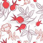 Hagebutten Und Blätter Nahtloses Vektormuster