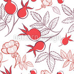 Rose Hips And Leaves Seamless Vector Pattern Design