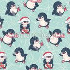 Ice Skating Penguins Seamless Vector Pattern
