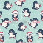 Schlittschuhlaufende Pinguine Nahtloses Vektormuster