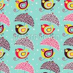 Pájaros con sombrillas de flores Estampado Vectorial Sin Costura