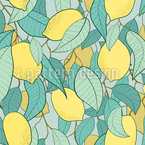 Lemon And Foliage Seamless Vector Pattern Design