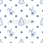 Trees And Mugs Seamless Pattern