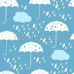 Bewölkte Regenschirme Nahtloses Vektor Muster