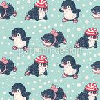 Eislauf-Pinguine Nahtloses Vektormuster